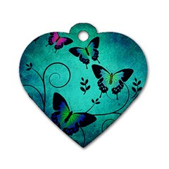 Texture Butterflies Background Dog Tag Heart (two Sides)