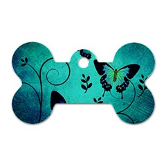 Texture Butterflies Background Dog Tag Bone (one Side)