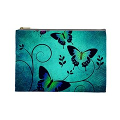Texture Butterflies Background Cosmetic Bag (Large)