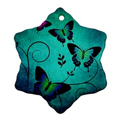 Texture Butterflies Background Snowflake Ornament (two Sides)