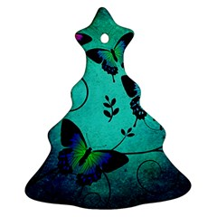 Texture Butterflies Background Christmas Tree Ornament (two Sides)