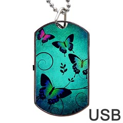 Texture Butterflies Background Dog Tag Usb Flash (one Side)