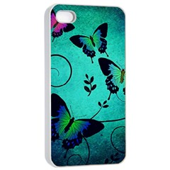 Texture Butterflies Background Apple Iphone 4/4s Seamless Case (white)