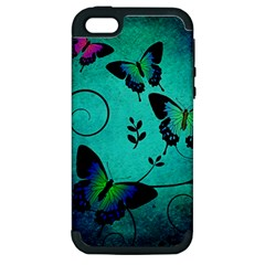Texture Butterflies Background Apple Iphone 5 Hardshell Case (pc+silicone)