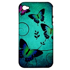 Texture Butterflies Background Apple Iphone 4/4s Hardshell Case (pc+silicone)