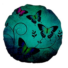 Texture Butterflies Background Large 18  Premium Round Cushions