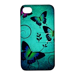 Texture Butterflies Background Apple Iphone 4/4s Hardshell Case With Stand