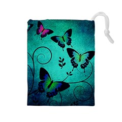 Texture Butterflies Background Drawstring Pouches (large)