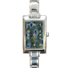 Peacock Feathers Blue Bird Nature Rectangle Italian Charm Watch