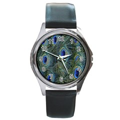 Peacock Feathers Blue Bird Nature Round Metal Watch