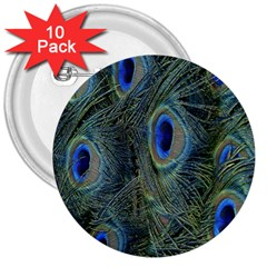 Peacock Feathers Blue Bird Nature 3  Buttons (10 Pack)