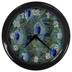 Peacock Feathers Blue Bird Nature Wall Clocks (black)