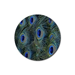 Peacock Feathers Blue Bird Nature Rubber Coaster (round)