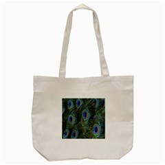 Peacock Feathers Blue Bird Nature Tote Bag (cream)