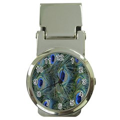 Peacock Feathers Blue Bird Nature Money Clip Watches