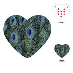 Peacock Feathers Blue Bird Nature Playing Cards (Heart)