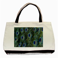 Peacock Feathers Blue Bird Nature Basic Tote Bag