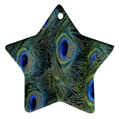 Peacock Feathers Blue Bird Nature Star Ornament (Two Sides)
