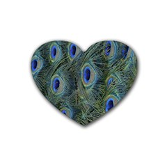 Peacock Feathers Blue Bird Nature Heart Coaster (4 Pack)
