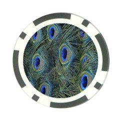 Peacock Feathers Blue Bird Nature Poker Chip Card Guard