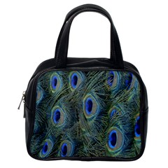 Peacock Feathers Blue Bird Nature Classic Handbags (one Side)