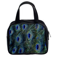 Peacock Feathers Blue Bird Nature Classic Handbags (2 Sides)