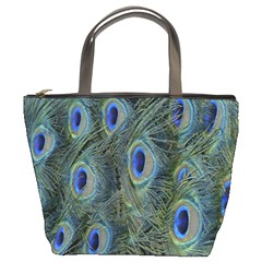 Peacock Feathers Blue Bird Nature Bucket Bags
