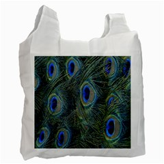 Peacock Feathers Blue Bird Nature Recycle Bag (two Side)