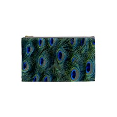 Peacock Feathers Blue Bird Nature Cosmetic Bag (small)