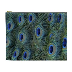 Peacock Feathers Blue Bird Nature Cosmetic Bag (xl)