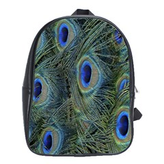 Peacock Feathers Blue Bird Nature School Bags(large)