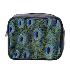 Peacock Feathers Blue Bird Nature Mini Toiletries Bag 2 Side