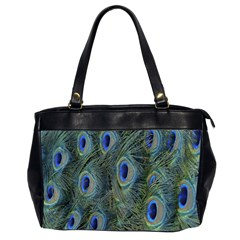 Peacock Feathers Blue Bird Nature Office Handbags (2 Sides)