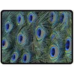Peacock Feathers Blue Bird Nature Fleece Blanket (large)