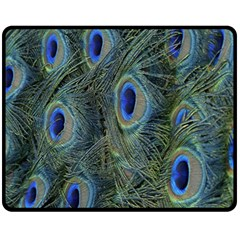 Peacock Feathers Blue Bird Nature Fleece Blanket (medium)