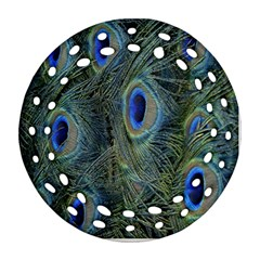 Peacock Feathers Blue Bird Nature Round Filigree Ornament (two Sides)