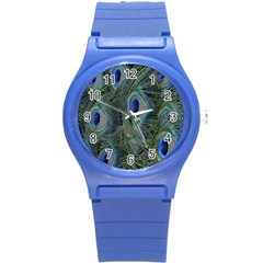 Peacock Feathers Blue Bird Nature Round Plastic Sport Watch (s)
