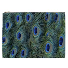 Peacock Feathers Blue Bird Nature Cosmetic Bag (xxl)