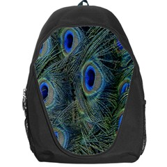 Peacock Feathers Blue Bird Nature Backpack Bag