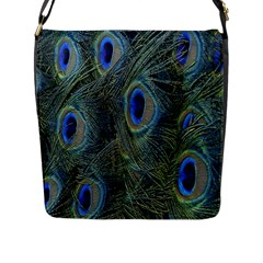 Peacock Feathers Blue Bird Nature Flap Messenger Bag (l)