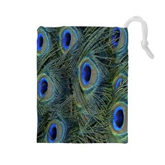 Peacock Feathers Blue Bird Nature Drawstring Pouches (large)
