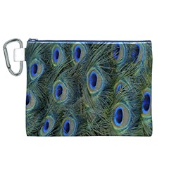 Peacock Feathers Blue Bird Nature Canvas Cosmetic Bag (xl)