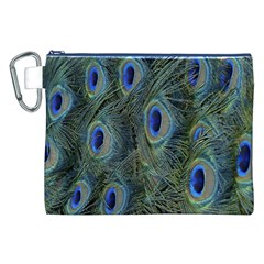 Peacock Feathers Blue Bird Nature Canvas Cosmetic Bag (xxl)