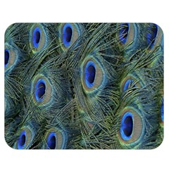 Peacock Feathers Blue Bird Nature Double Sided Flano Blanket (medium)
