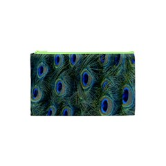 Peacock Feathers Blue Bird Nature Cosmetic Bag (xs)