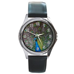 Peacock Feather Beat Rad Blue Round Metal Watch
