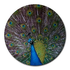 Peacock Feather Beat Rad Blue Round Mousepads
