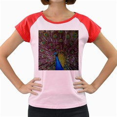 Peacock Feather Beat Rad Blue Women s Cap Sleeve T Shirt