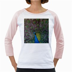 Peacock Feather Beat Rad Blue Girly Raglans