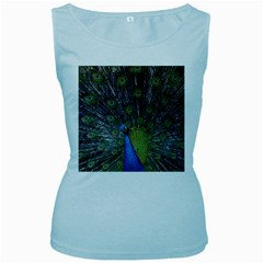 Peacock Feather Beat Rad Blue Women s Baby Blue Tank Top